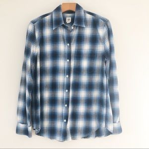 Gap Plaid Long Sleeve Shirt Blue Womens XS